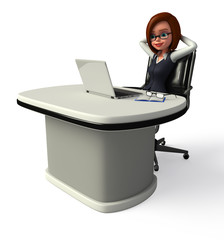 Smart business woman office in chair
