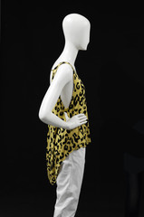 Side view mannequin elegant dress and isolated