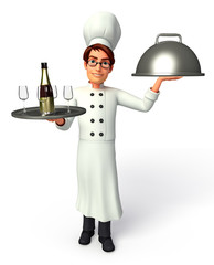 Chef holding a dish & wine