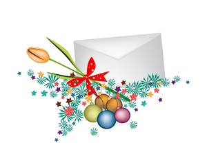 Orange Tulip in Envelope with Christmas Balls