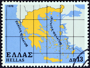 Map of Greece (Greece 1978)