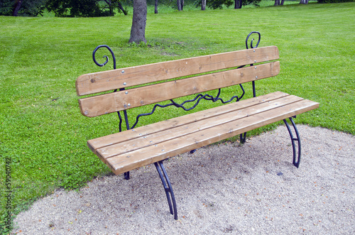 new  decorative  bench at a park