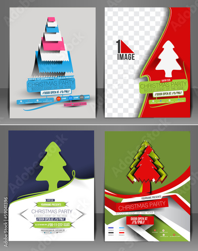 Set of Christmas Party Flyer Template