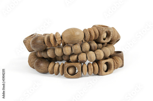 wooden bracelets isolated on a white background