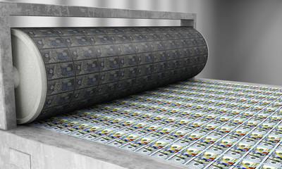 Printing Money New 100 Dollar Bills