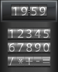 Countdown timer. Set of white digital numbers