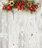 Fototapety Christmas decoration on old grunge wooden board
