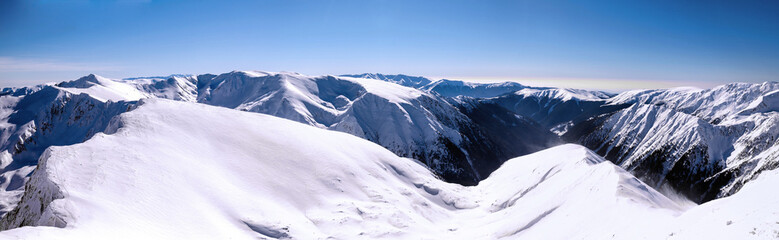panorama over mountain ridges in winter