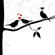 vector birds on branch. lovelorn concept