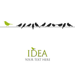vector birds on wire illustration - business idea concept