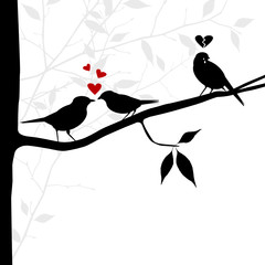 vector birds on branch. lovelorn concept