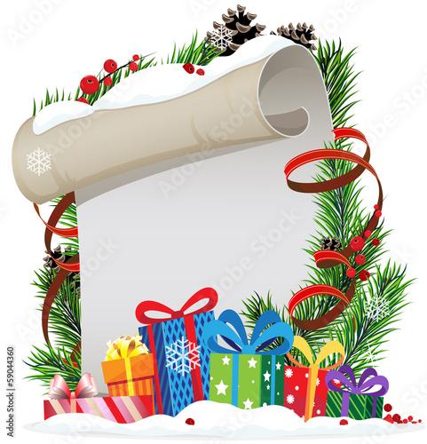 Christmas presents and Christmas wreath