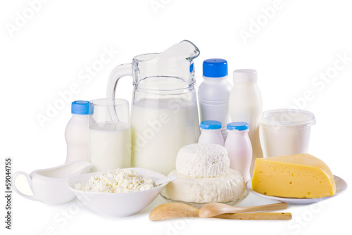 Various dairy products isolated on white background