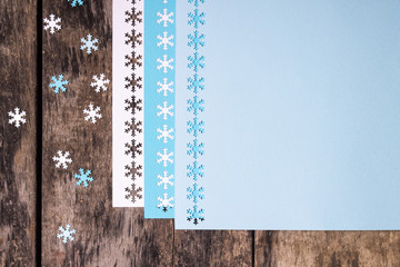 Christmas decoration ornament over wood background