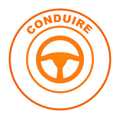 conduire sur bouton web rond orange