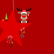 Reindeer Gift On Star & Symbols Red