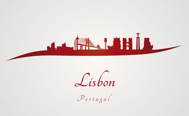 Lisbon skyline in red