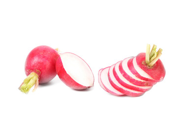 Fresh sliced radish and whole.