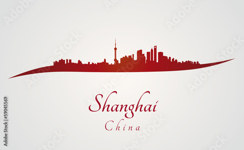 Shanghai skyline in red