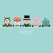 Ladybeetle, Fly Agaric, Chimney Sweeper, Pig & Cloverleaf Retro
