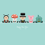 Ladybeetle, Fly Agaric, Chimney Sweeper, Pig & Cloverleaf Retro