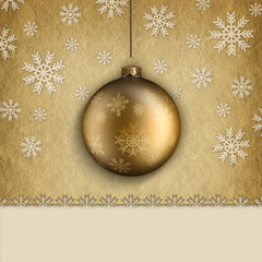 Christmas card template - bauble and snowflakes