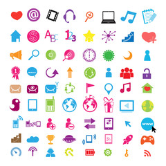 Social color Media Circles Icon, Network Vector