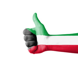 Hand with thumb up, Kuwait  flag painted