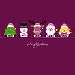 Tree, Snowman, Rudolph, Santa & Angel Gift Purple
