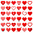 36 Abstract Red Hearts