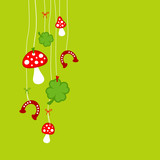 Fly Agarics, Cloverleafs & Horseshoes Green