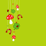Fly Agarics, Cloverleafs, Horseshoes & Ladybugs Green
