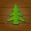 Green painted Christmas tree