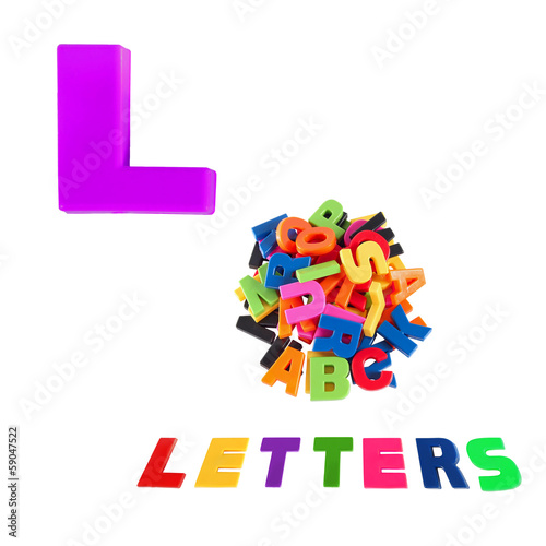 Illustrated alphabet letter l and letters on white background.