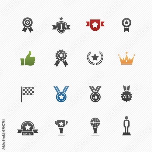 Trophy and prize symbol icon set