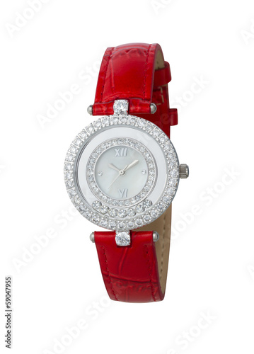 Beautiful red leather wrist watch isolated on white background
