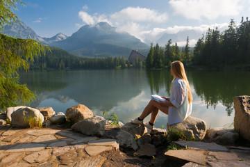 Girl near pond.