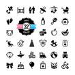 Web icon set. Baby toys, feeding and care