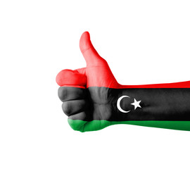 Hand with thumb up, Libya  flag painted
