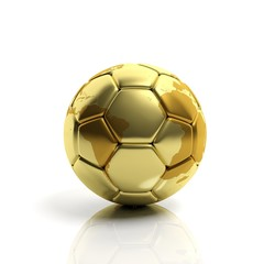 Golden world cup ball isolated on white