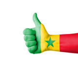 Hand with thumb up, Senegal  flag painted