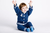 cute little sailor baby on white background