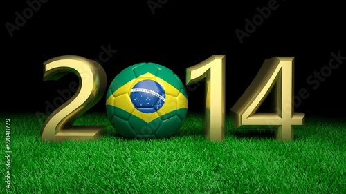 Gold 2014 with Brazilian soccer ball on grass