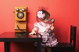 cute little girl with vintage phone