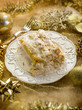 cannelloni over golden christmas table,selective focus