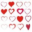 Set mit 16 roten Herzen