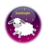 Goodnight button with lamb and stars