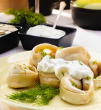 Pelmeni (Dumplings) with Fennel and Smetana (Sour Cream)