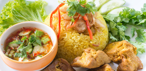 Chicken Rice Curry With Coconut called Koa Mook Gai