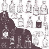 hand drawn bottles